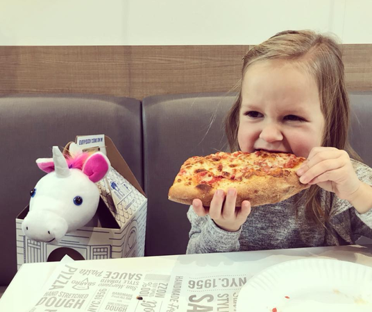 Kid approved. Sbarro's XL NY Slice does the trick.