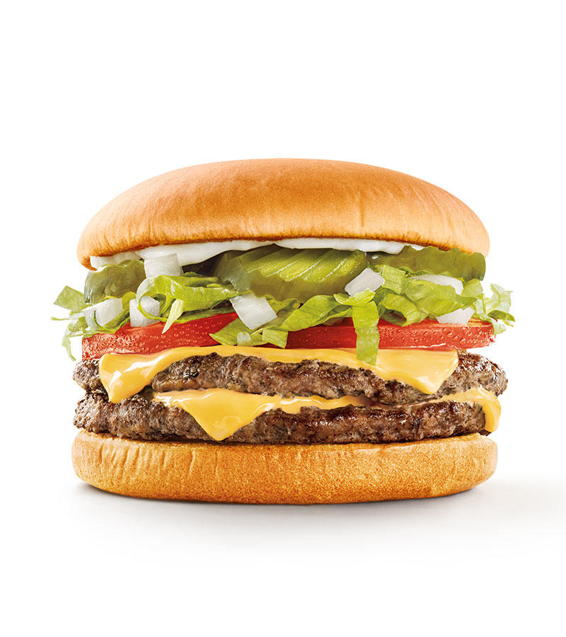 Two perfectly seasoned 100% pure beef patties layered with crinkle-cut pickles, chopped onions, fresh shredded lettuce & ripe tomatoes with your choice of mustard, mayo or ketchup. Seeing double has never been tastier.