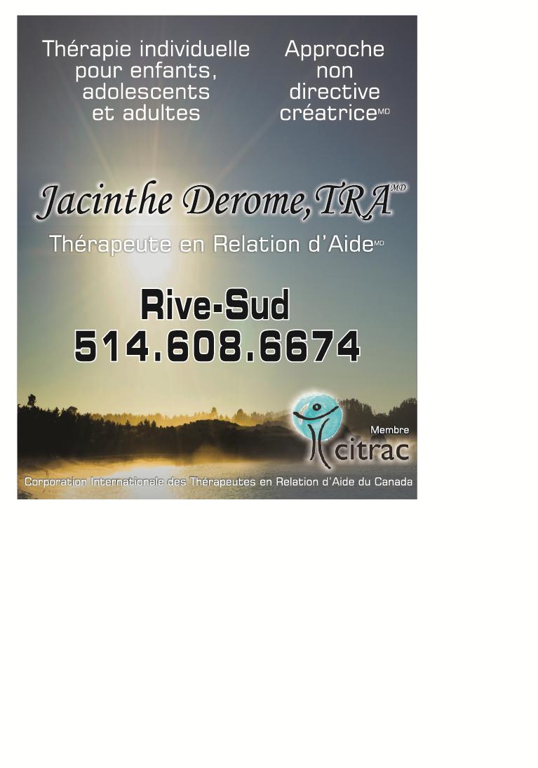Jacinthe Derome Therapeute en Relation d'Aide MD - La Prairie, QC J5R 2L1 - (514)608-6674 | ShowMeLocal.com
