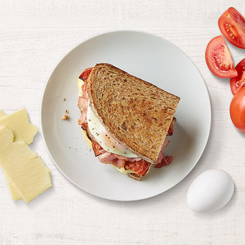 Start your morning with our Ham, Egg and Roasted Tomato Breakfast Sandwich